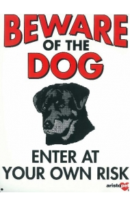 Dog Sign - Beware Of The Dog Rotty - Large