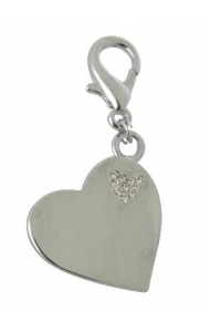 Pet Bling - Solid Silver Heart With Heart