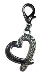 Pet Bling - Hollow Silver Heart With Diamantes