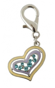 Pet Bling - Solid Yellow/Violet Heart With Blue Diamantes